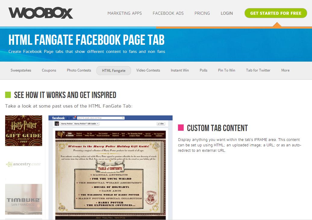 Custom Facebook Tabs with WooBox