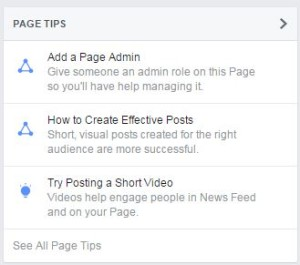 Facebook's New Page Tips Feature